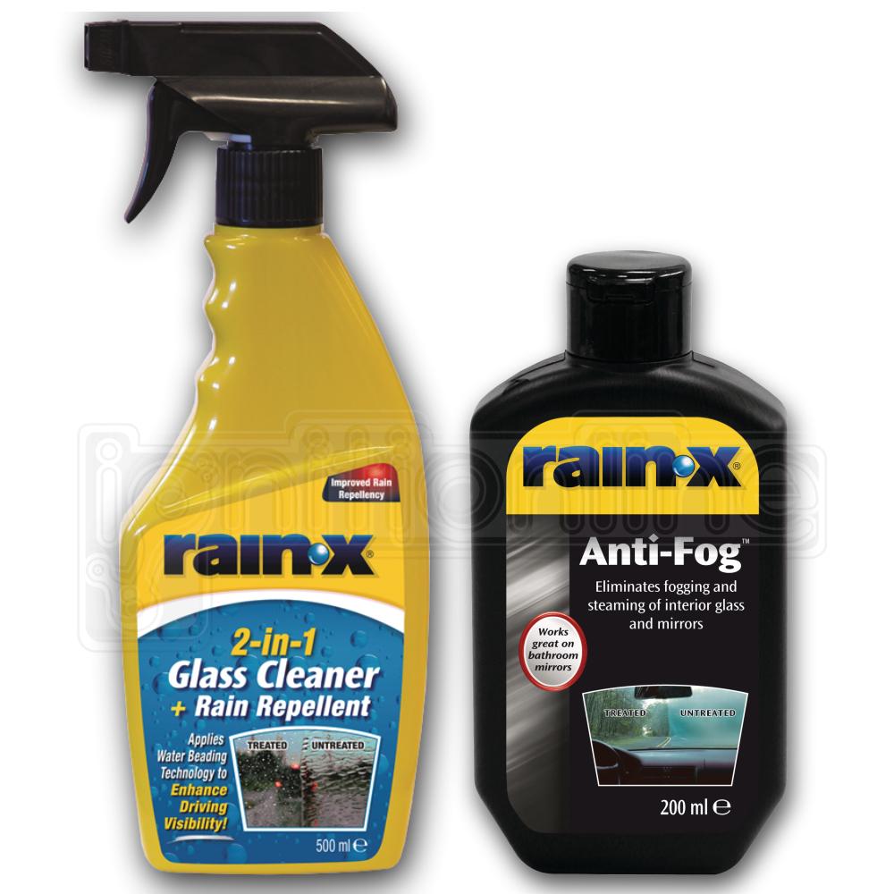 Details about RAIN X Windscreen 2in1 Glass Cleaner + Rain Repel 500ml &  RAIN X Anti Fog 200ml