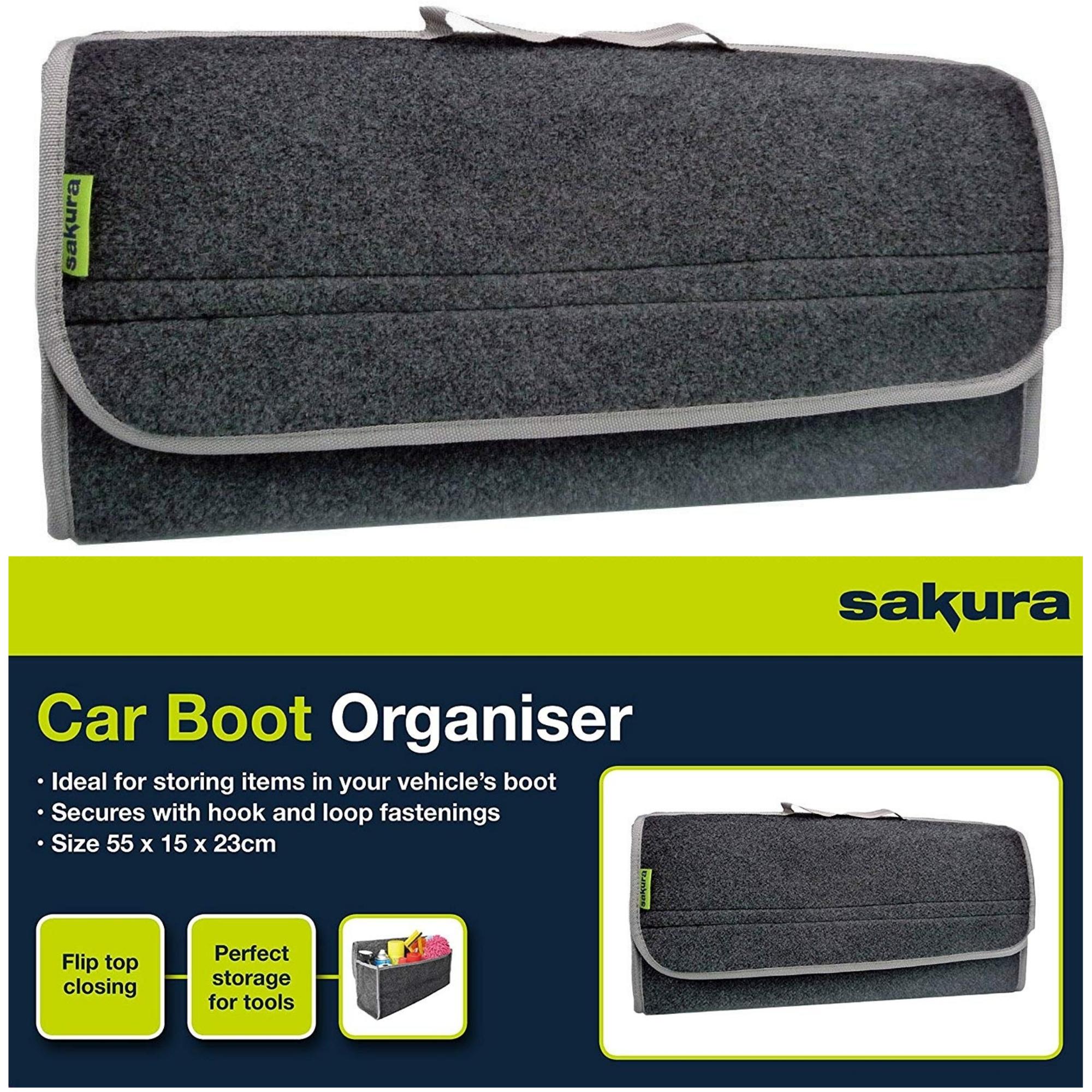 SAKURA Car Boot Storage Bag Velcro Organiser for Tools Breakdown Travel Tidy