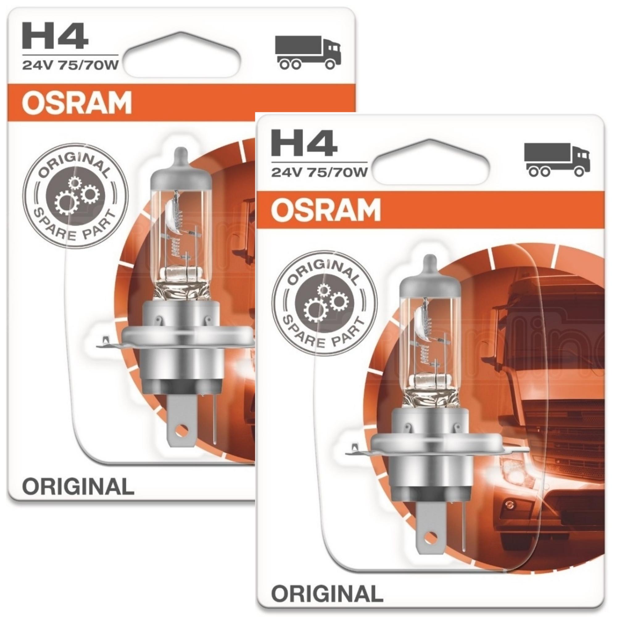 Osram H4 24V 75//70W P43t Halogen Commercial Truck Lorry Dip Headlamp Light Bulb