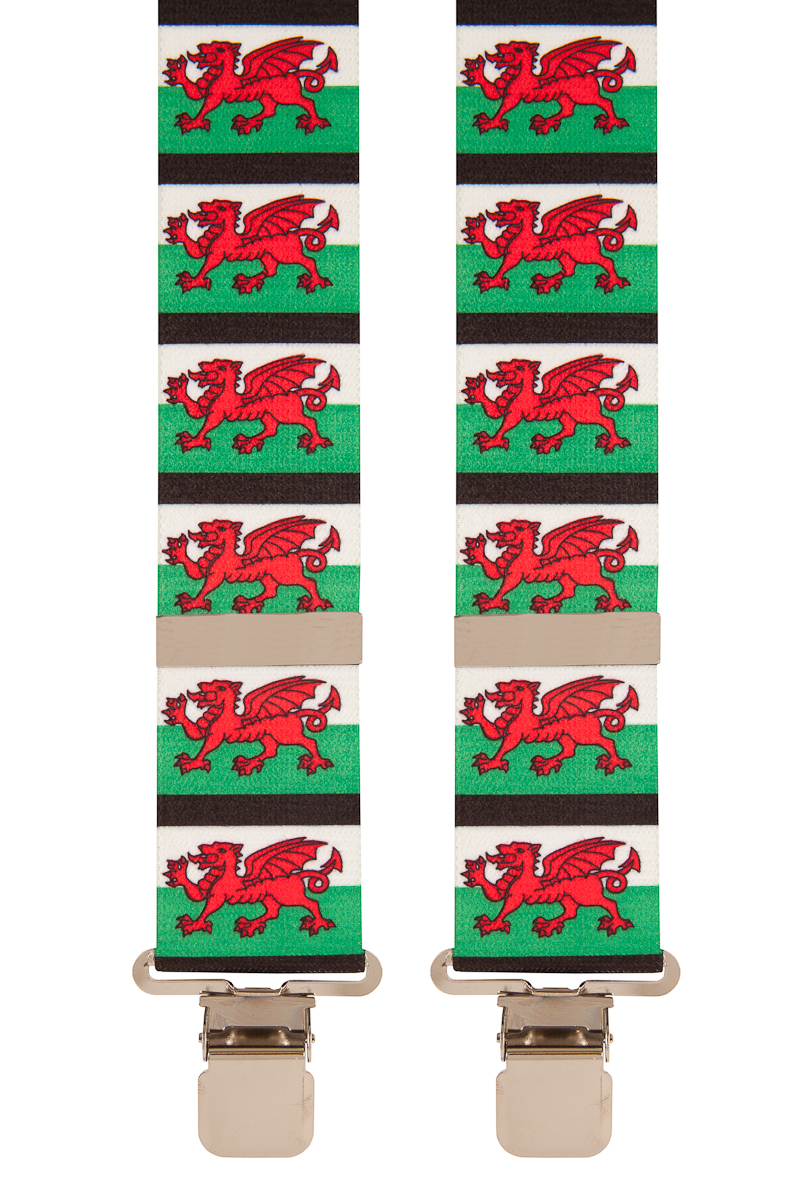 Welsh Flag Dragon Wales Novelty Country Trouser Braces Mens Suspenders