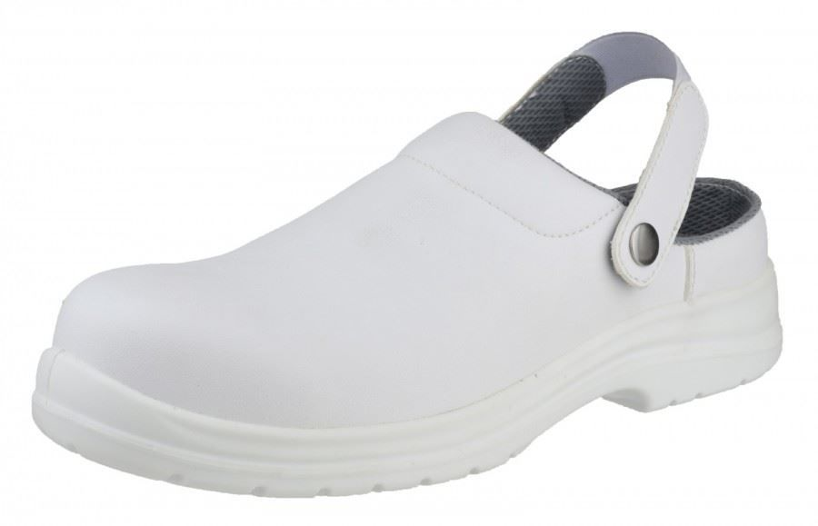 Amblers Safety Men's FS512 White Clog Waterproof Safety Shoes White