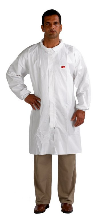 3M 4440 Disposable Lab Coat CE Type 5 & 6 Front Zip White