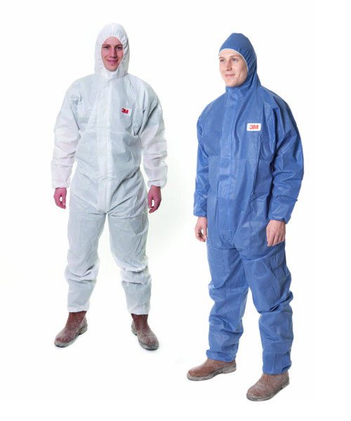 3M 4515 Disposable Protective Coverall Hooded Type 5/6 Blue White