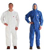 3M 4530 Disposable Protective Coverall Hooded Type 5/6 FSR Treated Blue White