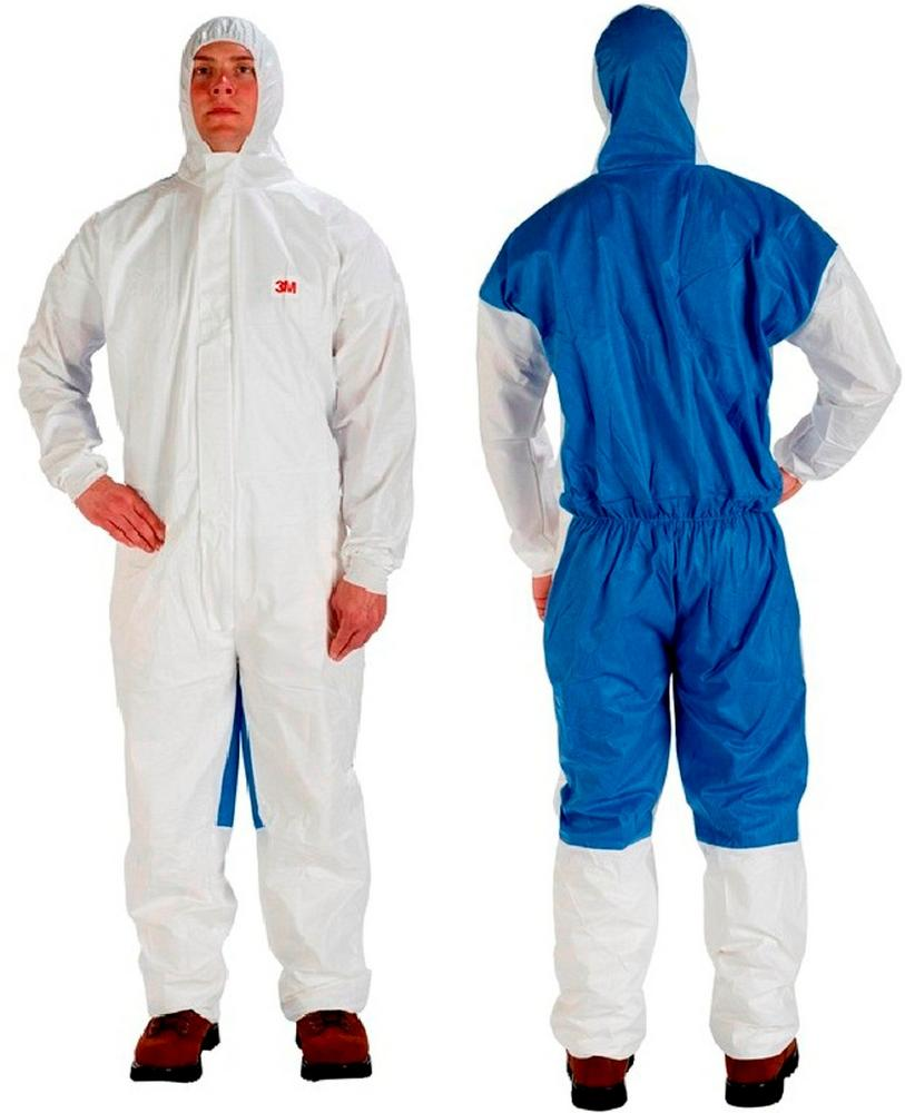3M 4535 Disposable Protective Coverall Hooded Type 5/6 Standards White/Blue