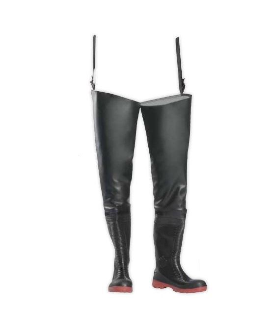 Sioen Milestone 6279 Texoflex Hip Wader with Industrial Safety Boots Black