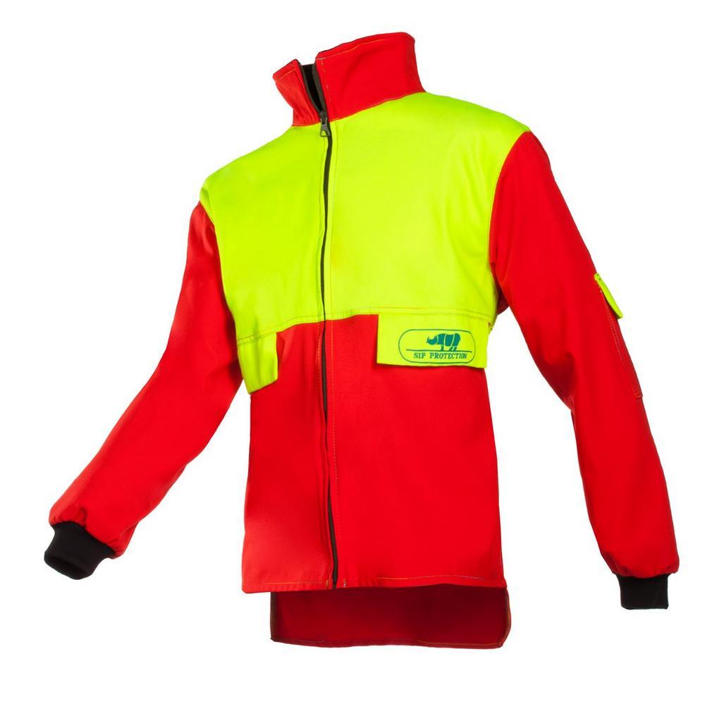 SIP Forestry Jacket 1SJ7 Hi vis Red & Yellow Fleece Collar