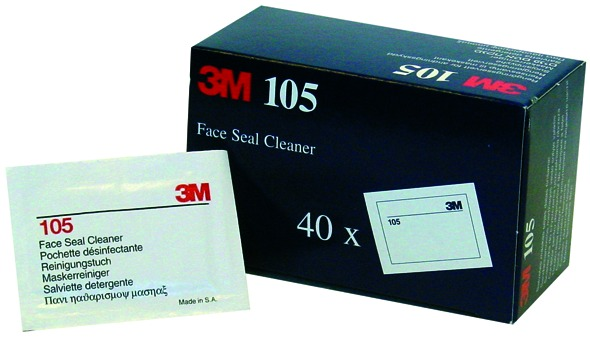3M 105 Face Seal Cleaner Pack of 40 Sealed Wipes