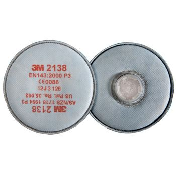 3M 2138 P3R Particulate Disk Filters 2 Pack White