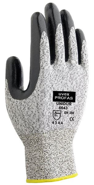 Uvex Profas Unidur 6643 Nitrile Coated Knitted Gloves Cut 3 Protection
