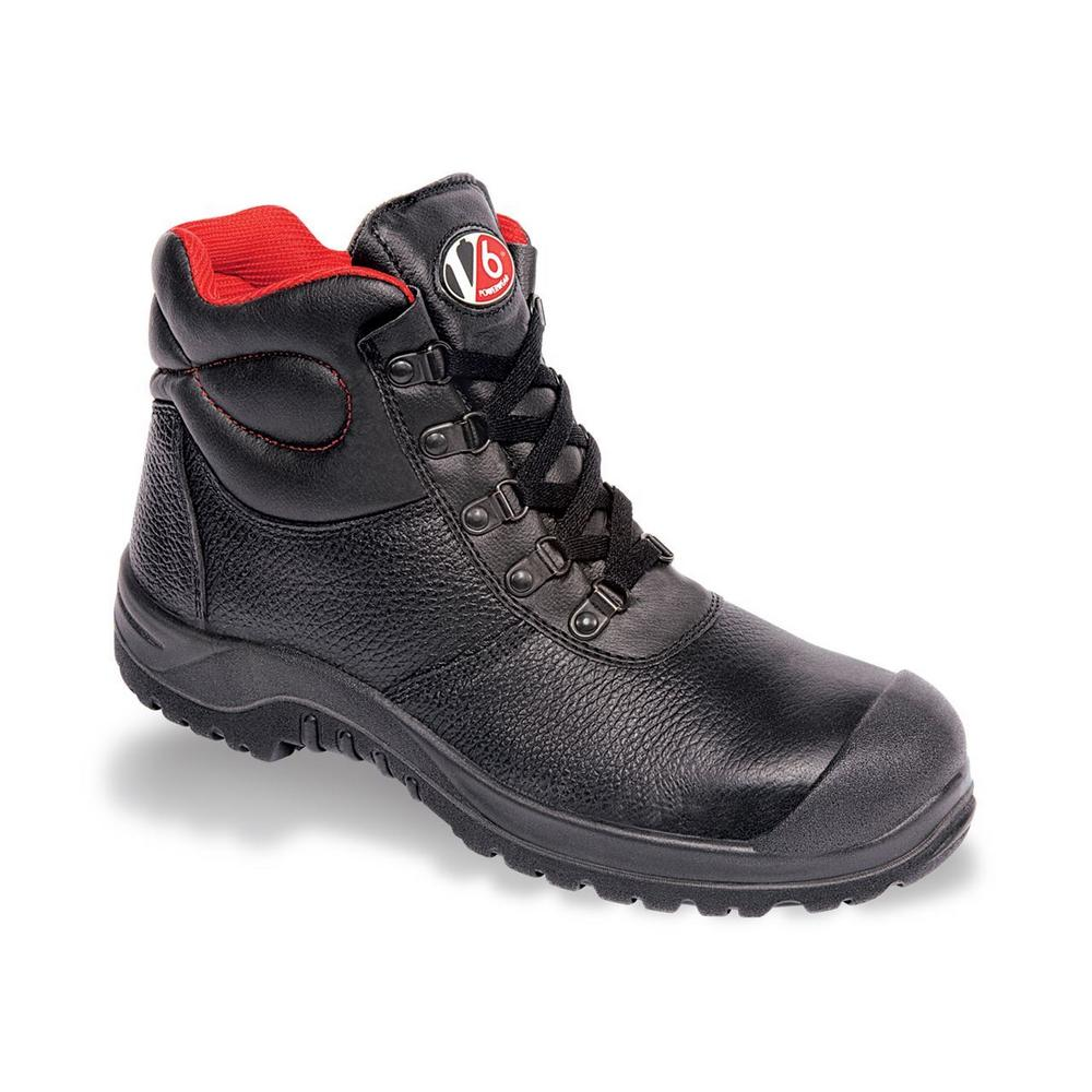 V12 Rhino Unisex S3 Safety Boot V6863 Black Leather Scuff Toe Cap Sole