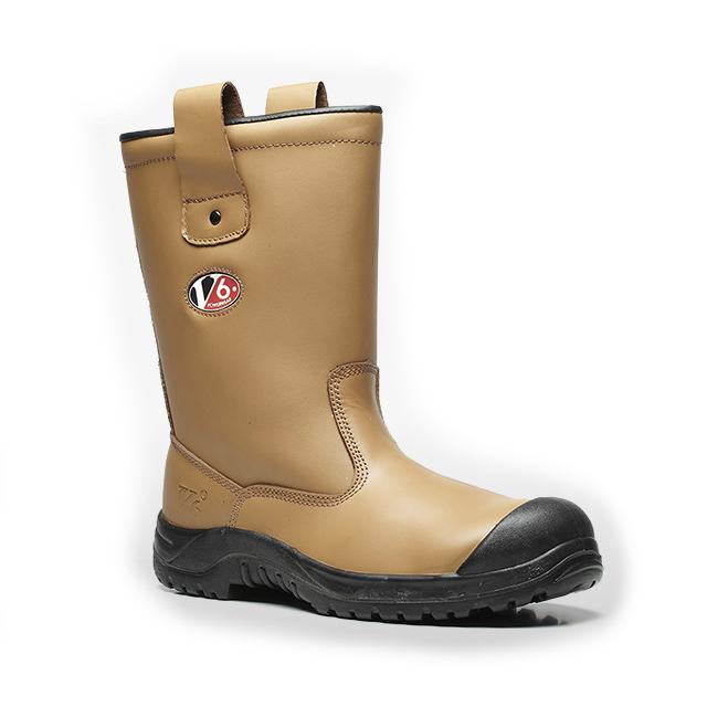 V12 Polar Fur Lined Tan Rigger Safety Boot V6816 Leather Work Toe Cap