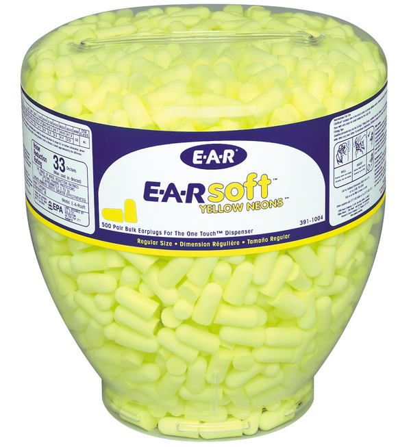 3M E-A-Rsoft Yellow Neon Earplugs Refill Bottle PD-01-002 500 Pairs