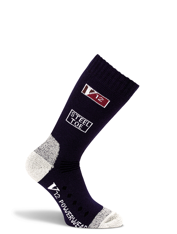 V12 Wool Sock VSOK3 Comfort Wearing Style Warm Soft Navy Calf Length (10 Pack)