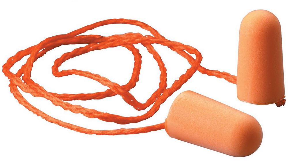 3M Foam Disposable Earplugs 1110 Corded SNR=37dB Orange Box of 100