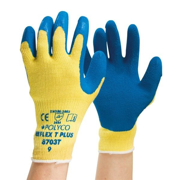 Polyco Reflex T Plus General Purpose Gloves Latex Coated 870T Blue Size M - XL