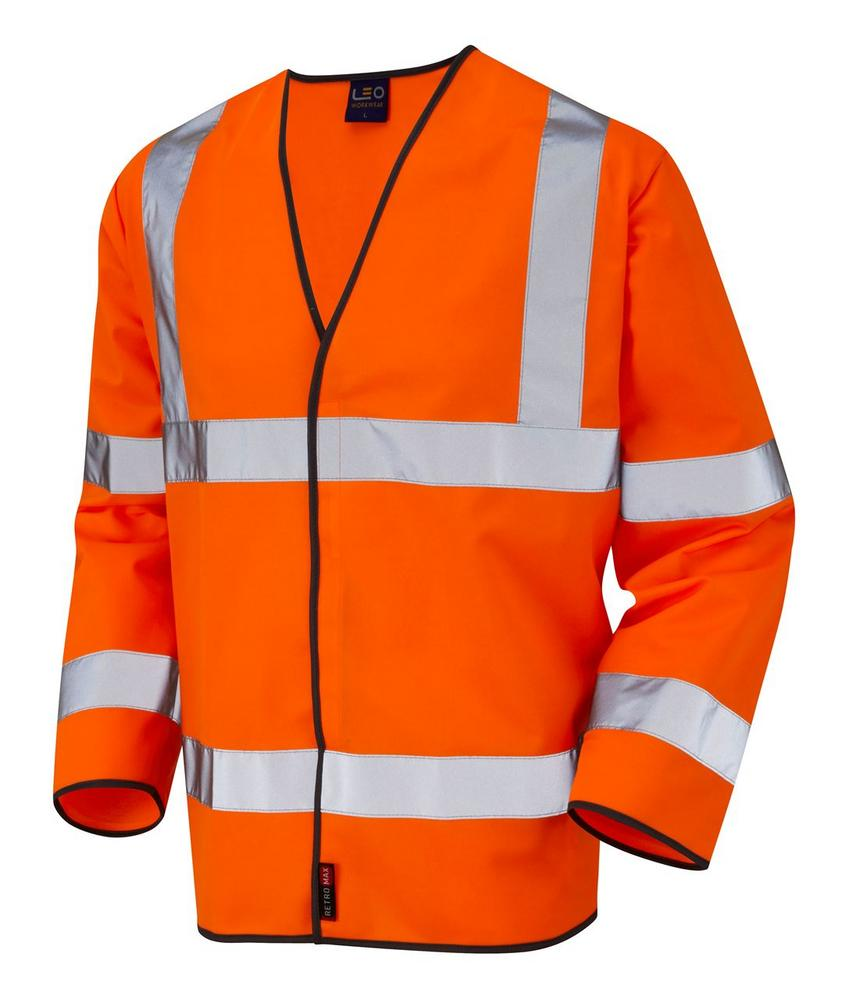 Leo Workwear Shirwell BSO3 Sleeved Waistcoat Reflective Bands Lightweight Orange