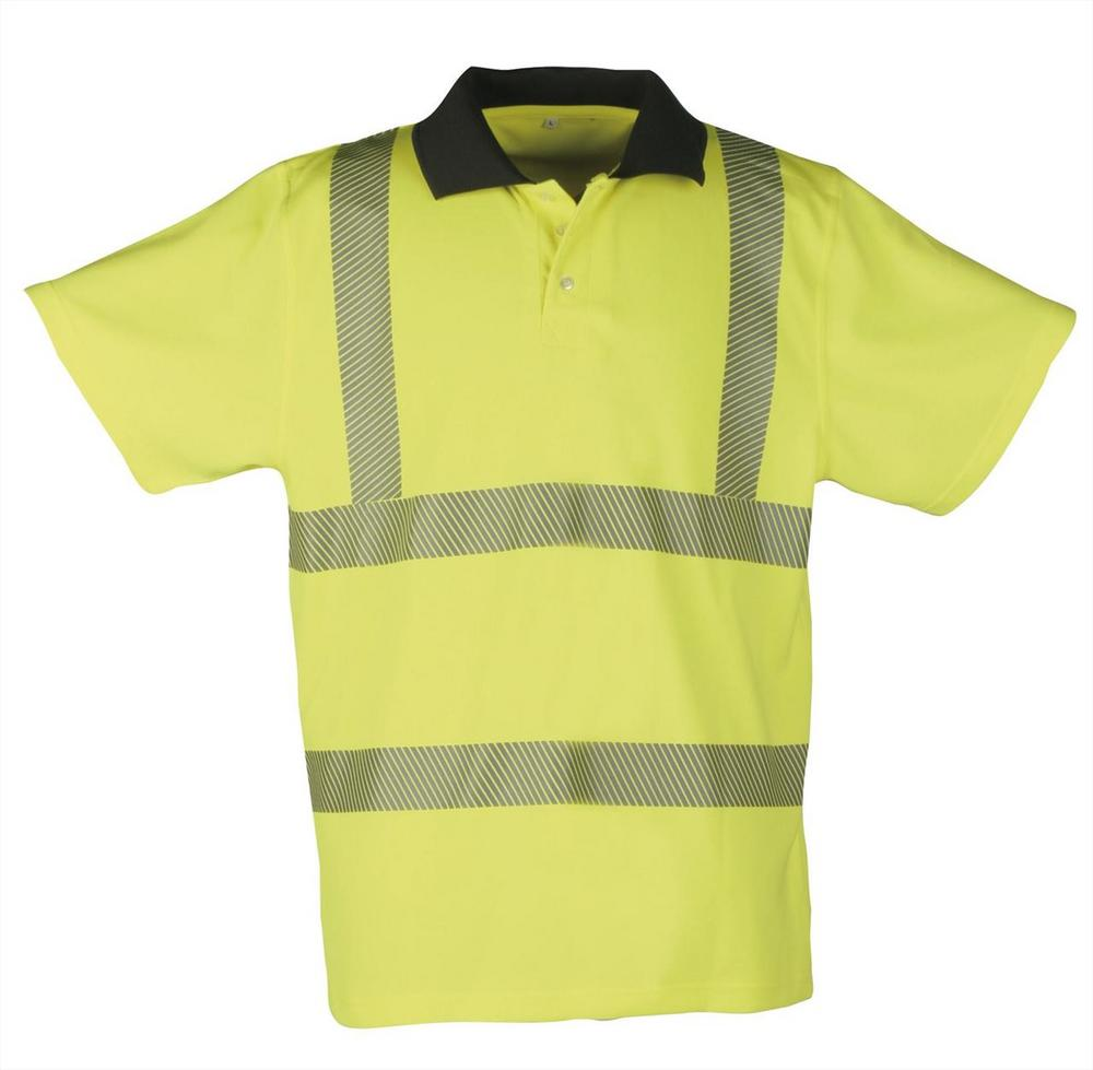 Sioen Grimsey 2669 Sio Cool Reflective Tape & Short Sleeves Hi Vis Yellow Polo Shirt