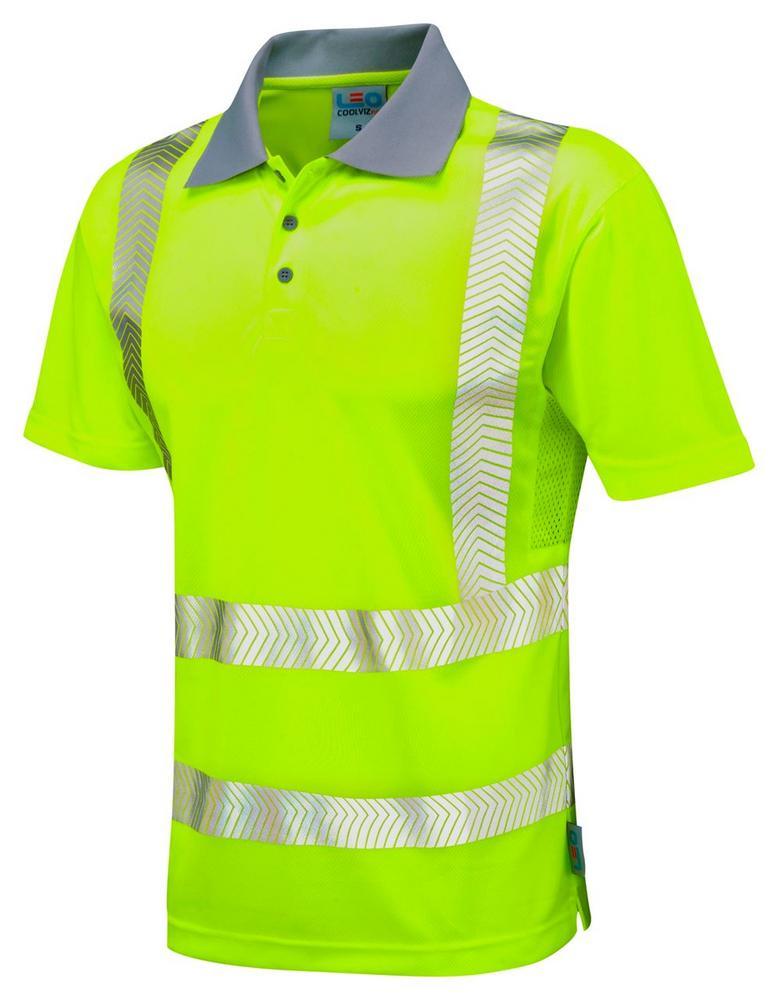 Leo Workwear Woolacombe P03 Segmented Reflective Tape Hi-Vis Comfort Polo Shirt