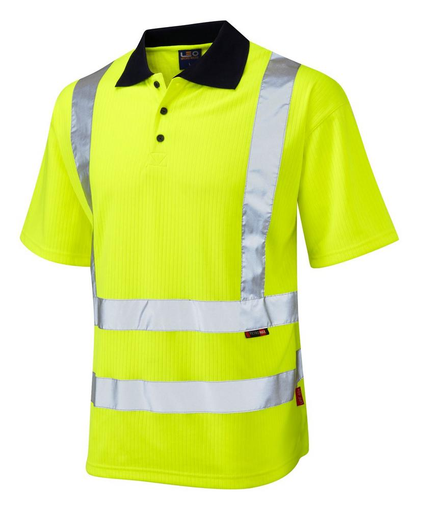 Leo Workwear Croyde P01 Class 2 High Visibility Comfort Polo Shirt