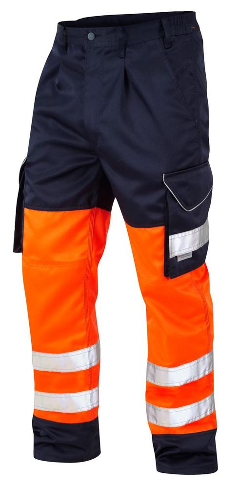Leo Workwear Bideford CT01 Hi Vis Class 1 Knee Pad Pockets Cargo Trouser - Orange & Navy