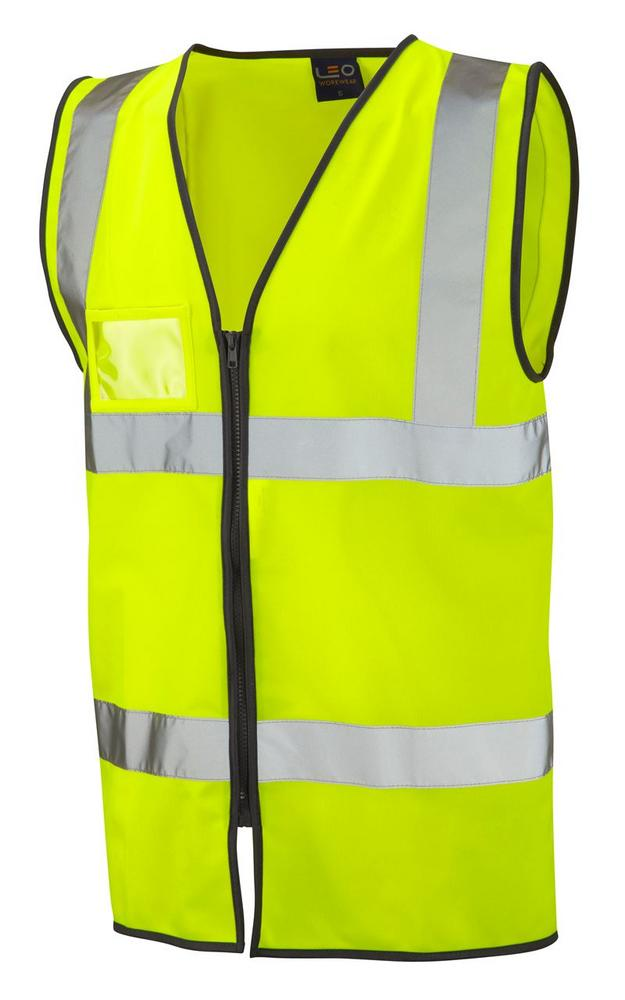 Leo Workwear W02 Rumsam BW2Z Hi Vis Durable & Lightweight Zip Waistcoat - Yellow