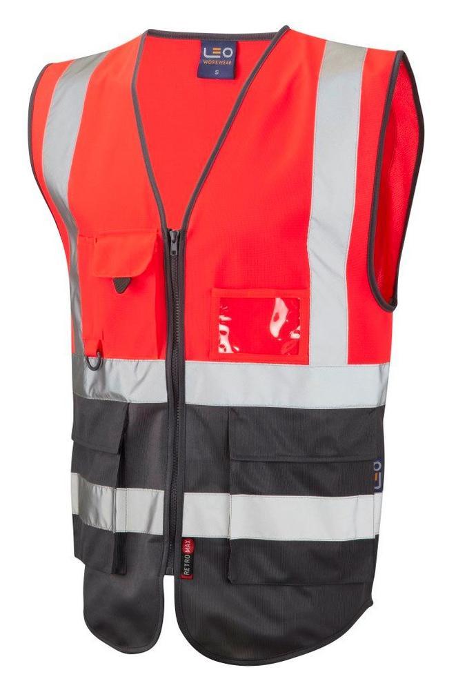 Leo Workwear Lynton W11-R/GY Hi Vis Superior 1171 Waistcoat Red & Grey