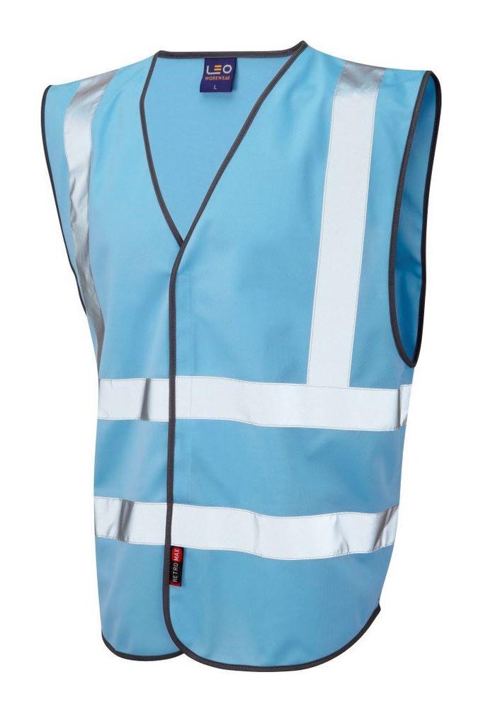 Leo Workwear Pilton W05 Reflective Lightweight Hi-Vis Waistcoat Sky Blue