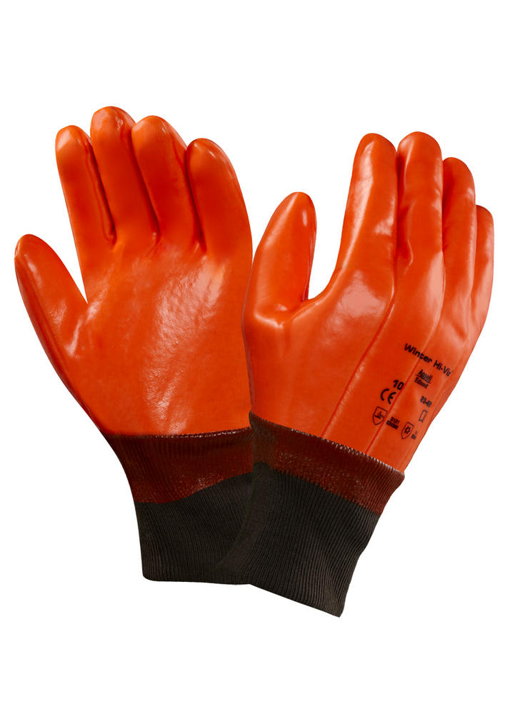 Ansell 23-491 Hi Vis Orange Winter Thermal Liner Vinyl Dipped Gloves