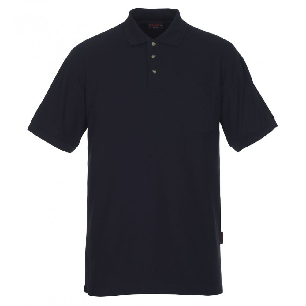 Mascot Ribbed Collar & Sleeves Polo Shirt Borneo 00783-260 Navy