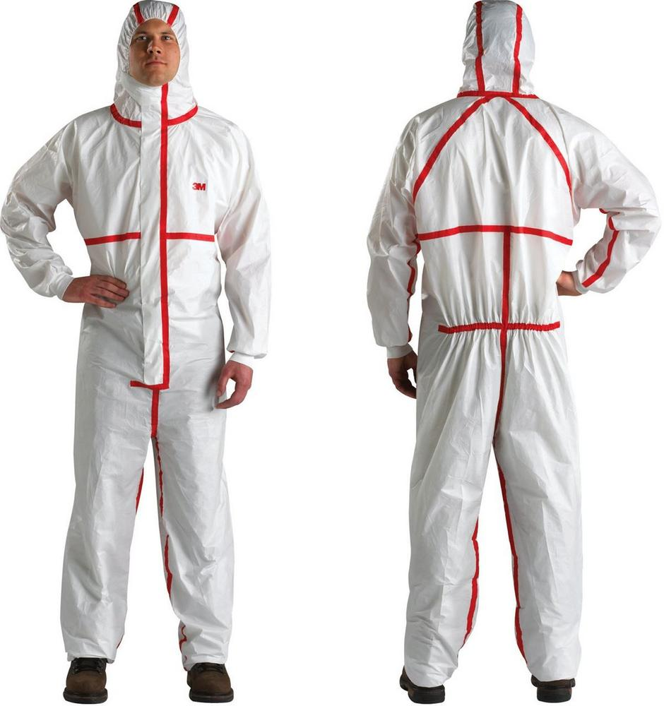 3M 4565 Disposable Protective Coverall Hooded Type 4\5\6 White\Red (Pack of 10)