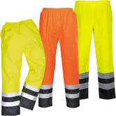 Portwest Windproof & Rain Protection Hi-Vis Two Tone Traffic Trousers