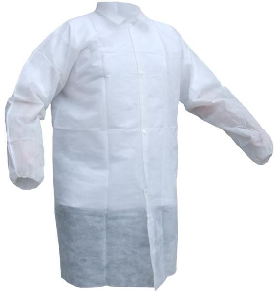 Click Once PDVC White Polypropylene Disposable Coat (Pack of 20)