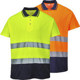 Portwest S174 Two Tone Cotton Comfort Polo Hi Vis Rail Industry GO/RT Compliant (orange)