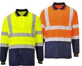 Portwest S279 Two-Tone Long Sleeved Polo Orange/Navy or Yellow/Navy