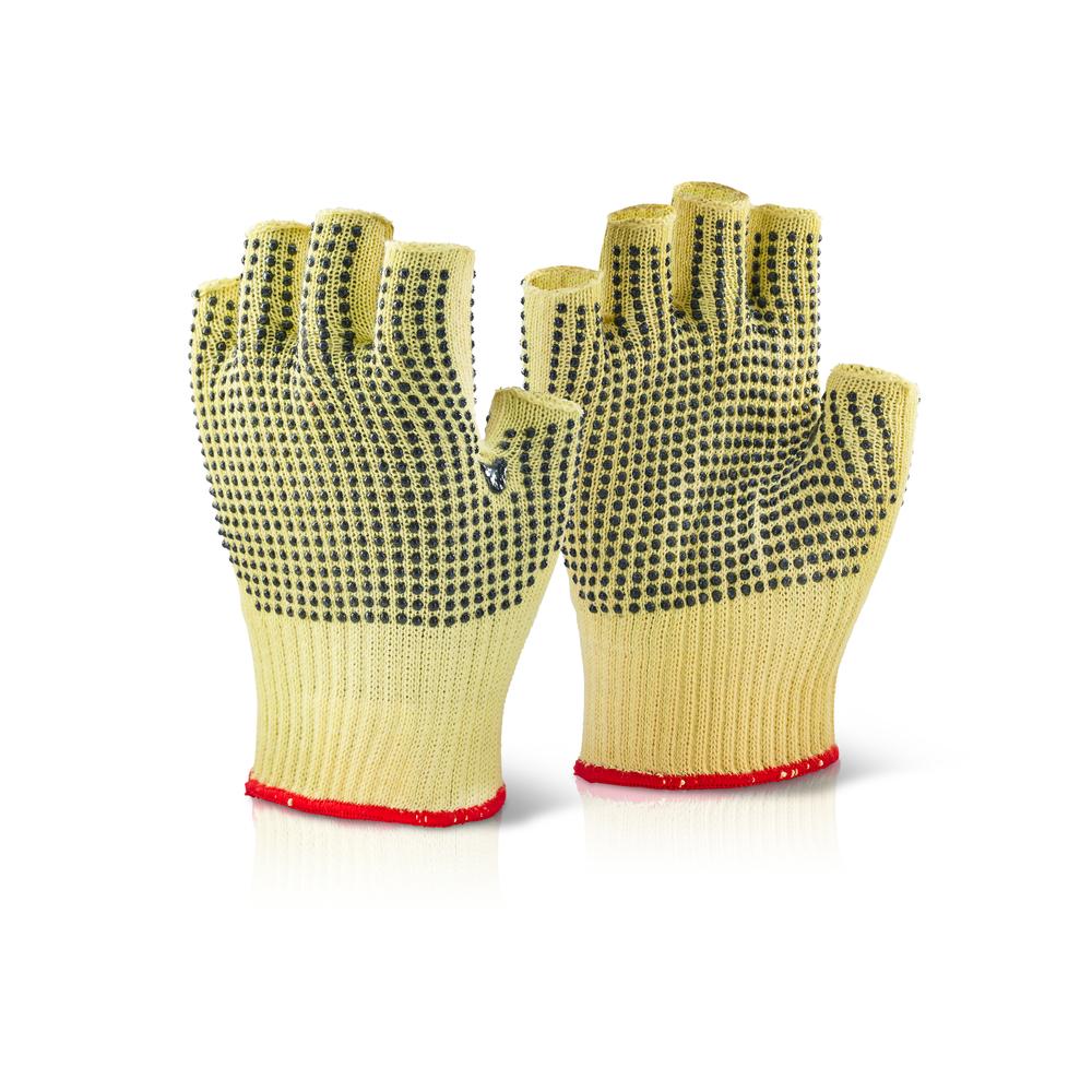 Beeswift KFLGMWD Cut 3 Resistant Latex Polka Dot Fingerless Kevlar Gloves