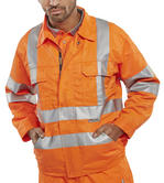 Beeswift RSJ Polycotton Hi Vis Teflon Coated Orange Jacket