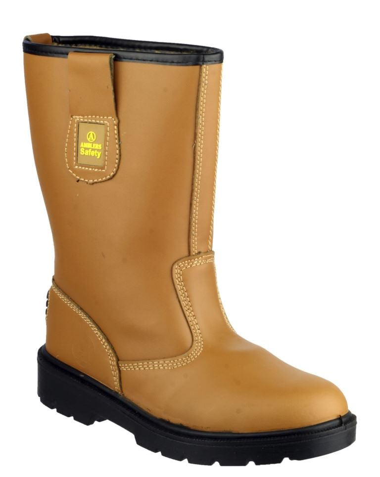 Amblers FS124 Unisex Pull On S3 Pull-on Steel Toe Cap Rigger Boot, Tan