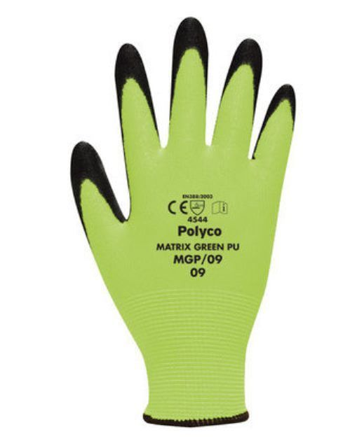 Polyco Matrix MGP Green PU Cut 5 Gloves