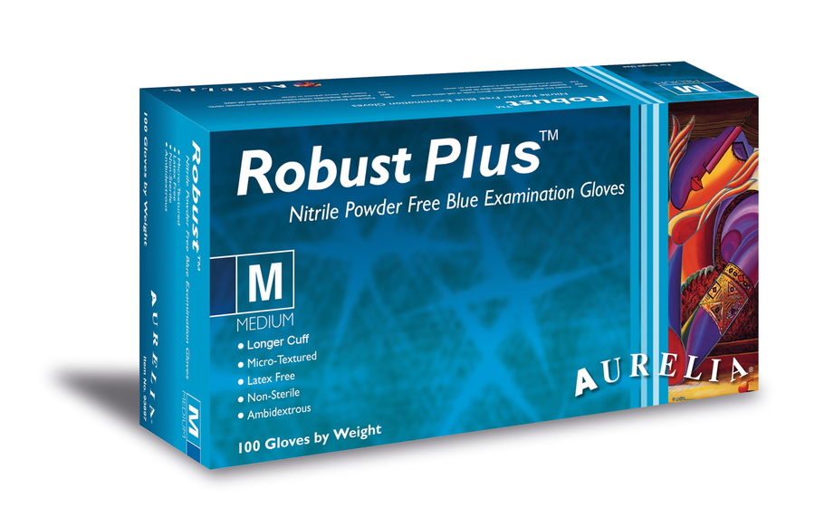 Aurelia Robust Plus Nitrile Coated Powderfree Disposable Gloves, Box of 100