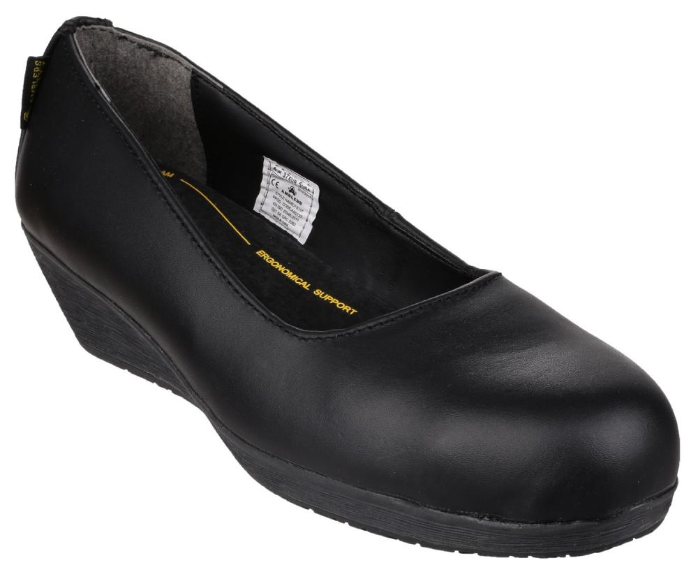 Amblers FS107 Ladies Safety Court Shoes Wedge Heel