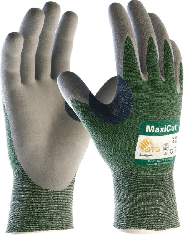 Atg Maxicut 34-450 Cut Level 3 Cut Oil Leather Palm Coated Knitwrist Glove 4.3.3.1