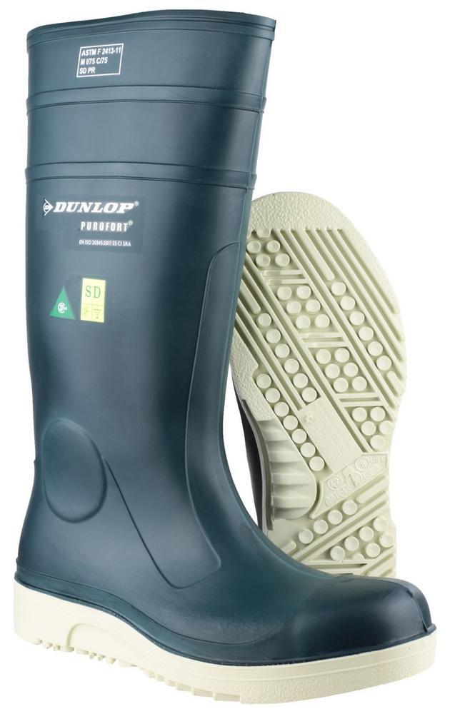 Dunlop Purofort Comfort Grip Full Safety Wellingtons E262673 Green