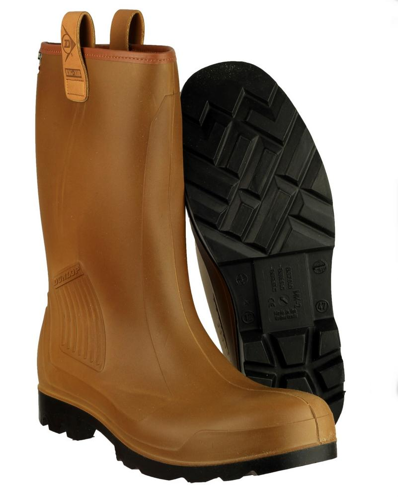 Dunlop C462743FL Rig-Air Lined Pull-On Wellington Boots Brown