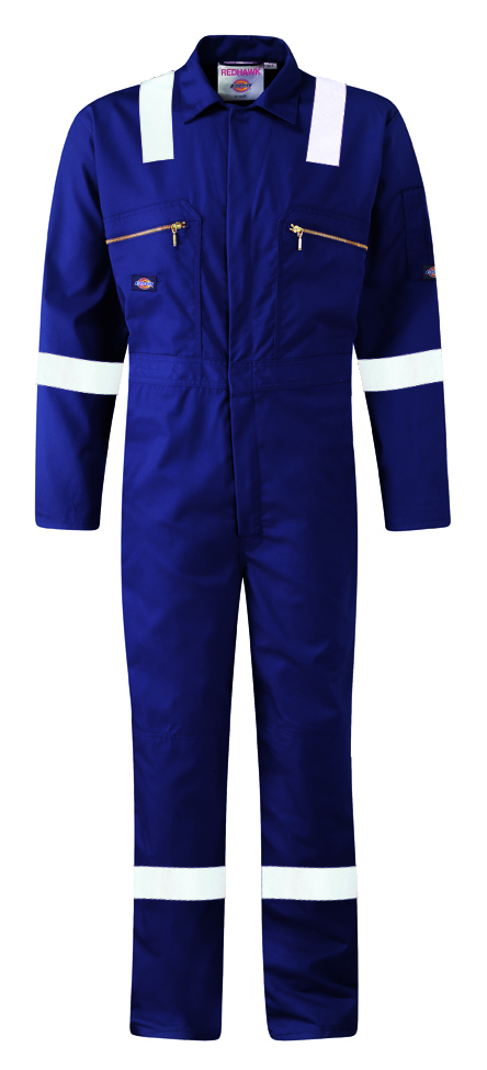 Dickies Redhawk Navy Hi Vis Coverall Taped WD4839