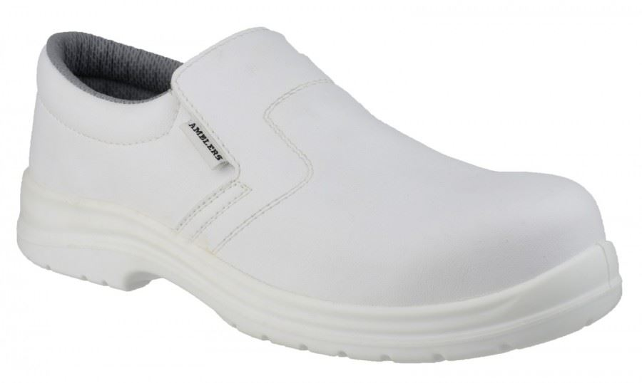 Amblers FS510 Slip On Steel Toe Cap Safety Shoes Unisex White