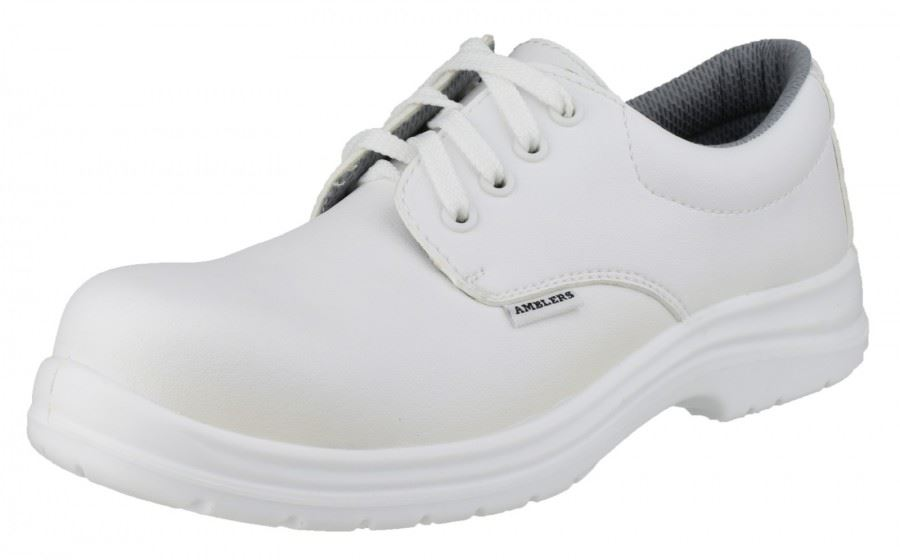 Amblers FS511 Unisex Safety Shoes Lace Up White Leather