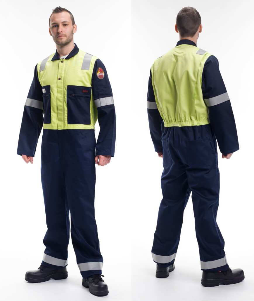 3a1f1f915928 Roots RO18092 Flamebuster Nordic Anti-Static Coverall Navy Yellow