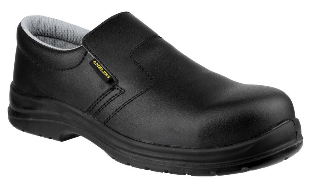 Amblers FS661 ESD Slip On Leather Machine Washable S2 Safety Shoes - Black