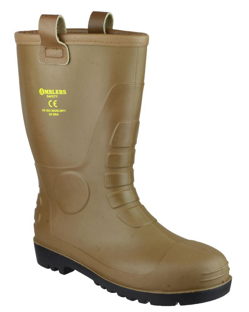 Amblers FS95 Tan PVC Rigger Safety Waterproof Wellington Rigger Boot